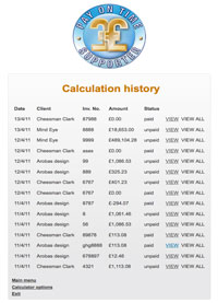 Calculation history